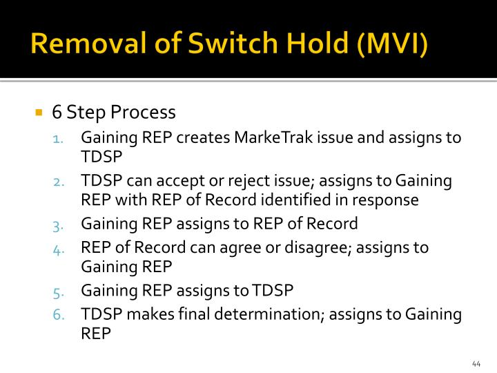 Removal of Switch Hold (MVI)