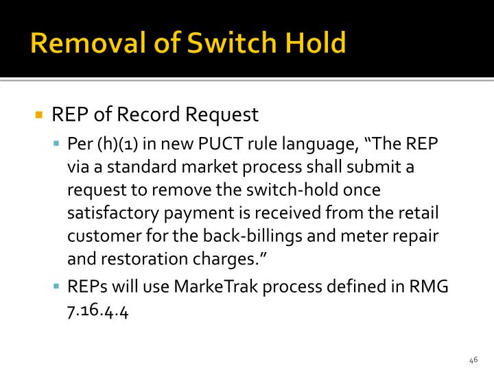 Removal of Switch Hold