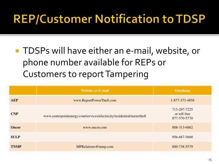 REP/Customer Notification to TDSP