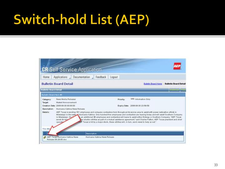 Switch-hold List (AEP)