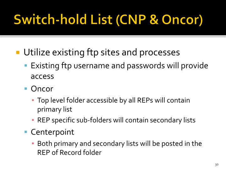 Switch-hold List (CNP &