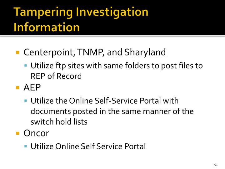 Tampering Investigation Information