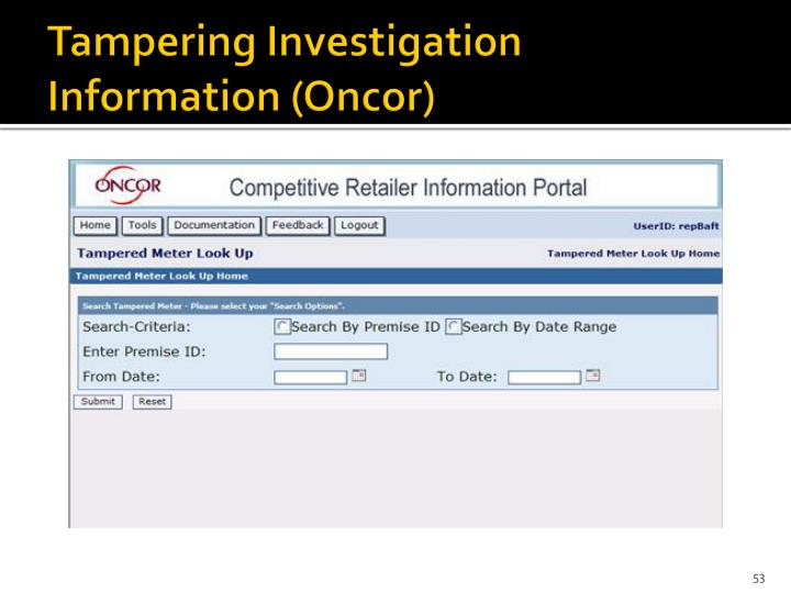 Tampering Investigation Information (