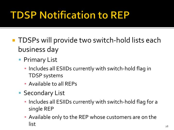 TDSP Notification to REP