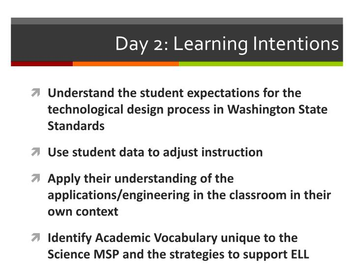 Day 2: Learning Intentions