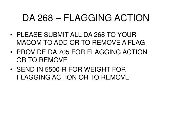 DA 268 – FLAGGING ACTION