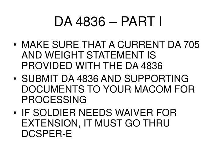 DA 4836 – PART I