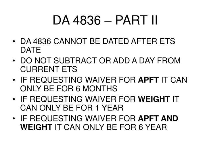 DA 4836 – PART II