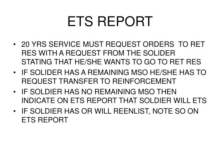 ETS REPORT