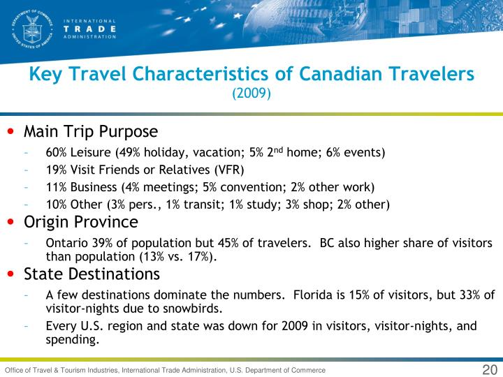Key Travel Characteristics of Canadian Travelers
