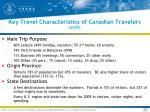 key travel characteristics of canadian travelers 2009