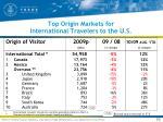 top origin markets for international travelers to the u s