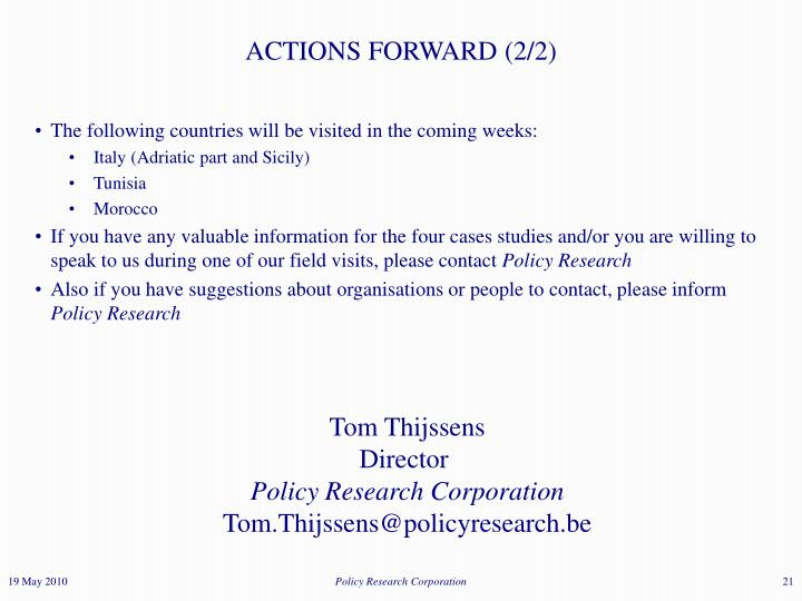 ACTIONS FORWARD (2/2)