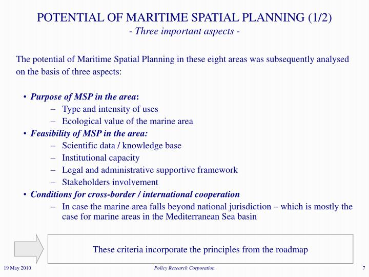 POTENTIAL OF MARITIME SPATIAL PLANNING (1/2)