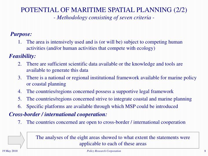 POTENTIAL OF MARITIME SPATIAL PLANNING (2/2)
