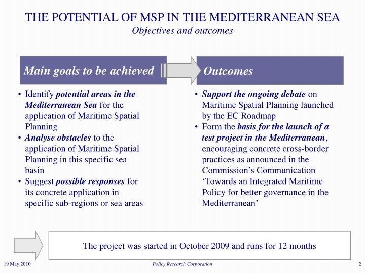 The potential of msp in the mediterranean sea objectives and outcomes
