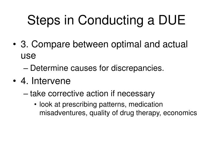 Steps in Conducting a DUE