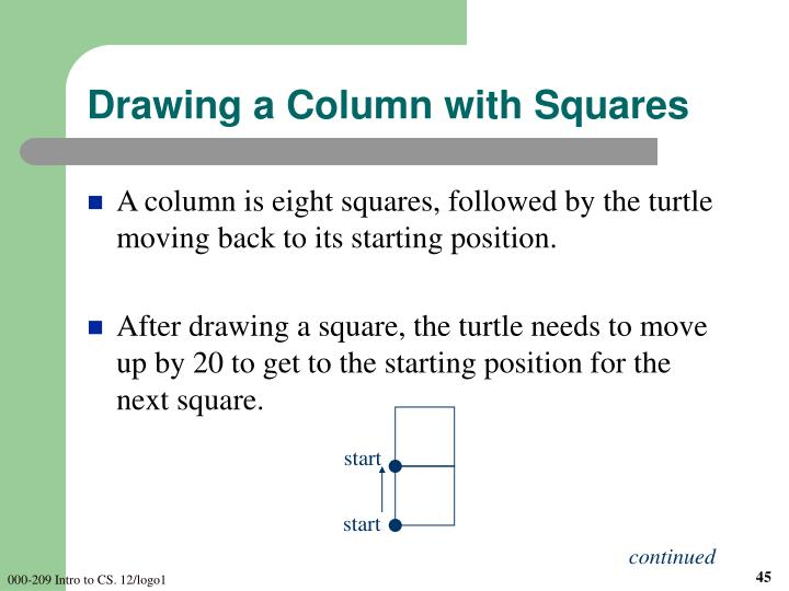 Drawing a Column with Squares