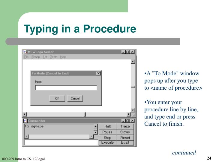 Typing in a Procedure