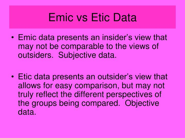 Emic vs Etic Data