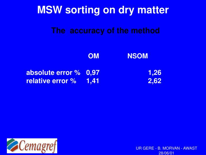 MSW sorting on dry matter