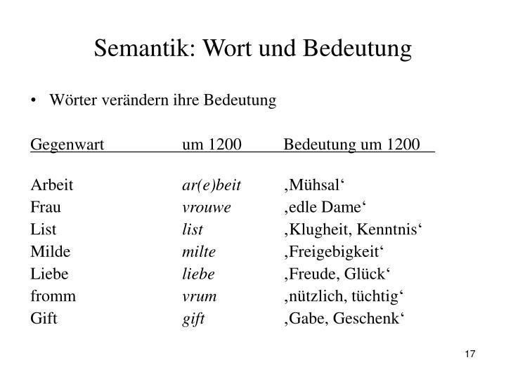 Semantik: Wort und Bedeutung