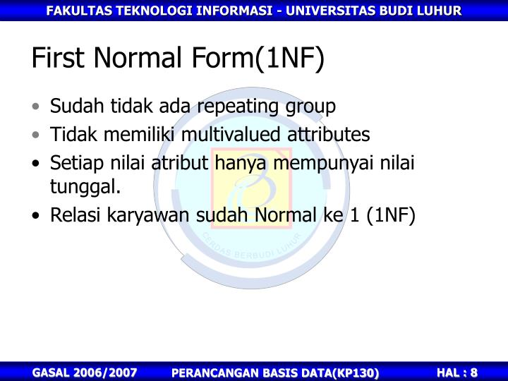 First Normal Form(1NF)