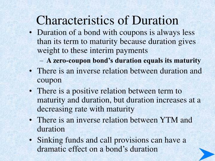 Characteristics of Duration