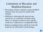 limitations of macaulay and modified duration