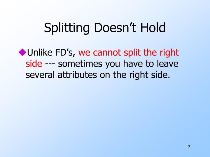 Splitting Doesn't Hold