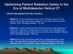 optimizing patient radiation safety in the era of multidetector helical ct9