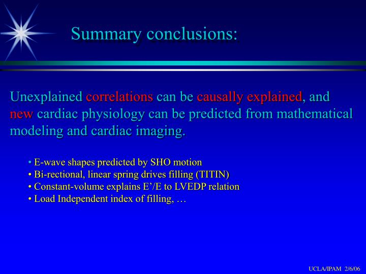 Summary conclusions: