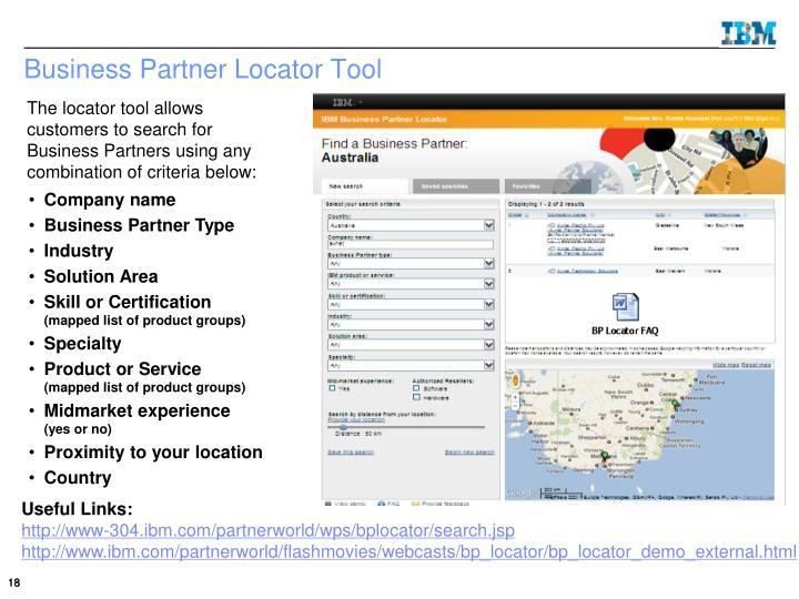 Business Partner Locator Tool