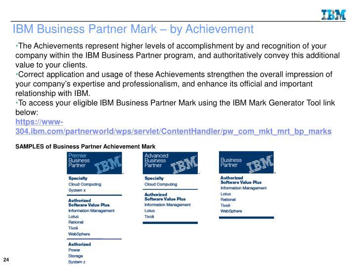 IBM Business Partner Mark – by Achievement