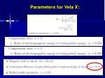 parameters for vela x