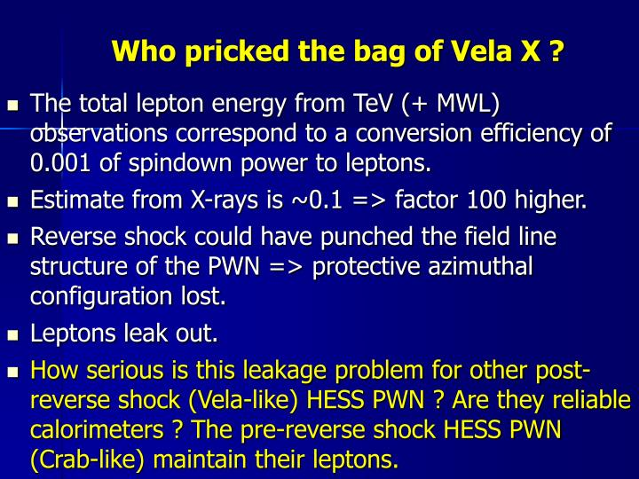 Who pricked the bag of Vela X ?