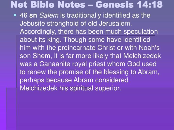 Net Bible Notes – Genesis 14:18