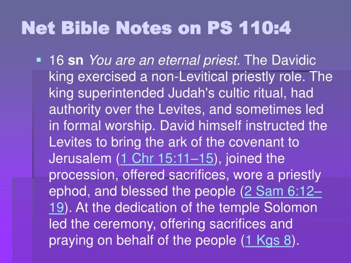 Net Bible Notes on PS 110:4