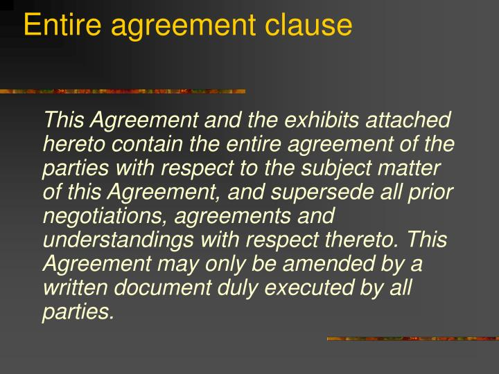Entire agreement clause