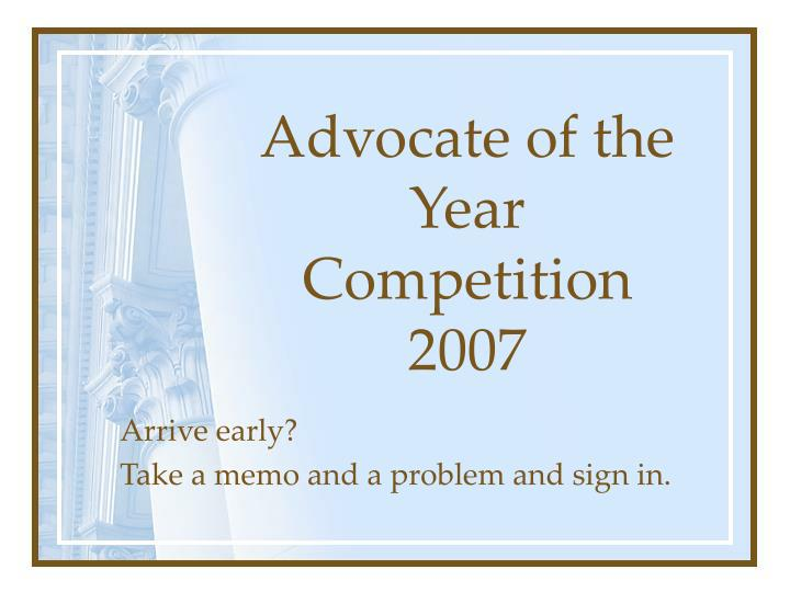 Advocate of the Year Competition
