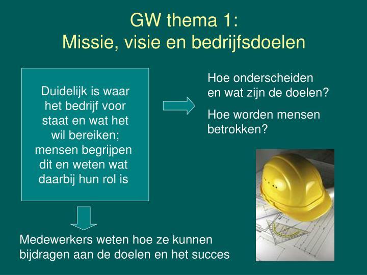 GW thema 1: