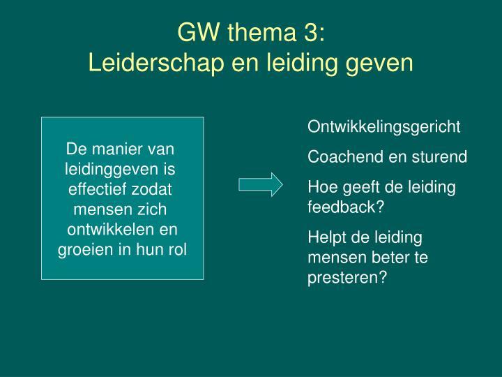 GW thema 3: