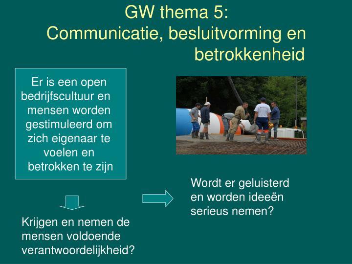 GW thema 5: