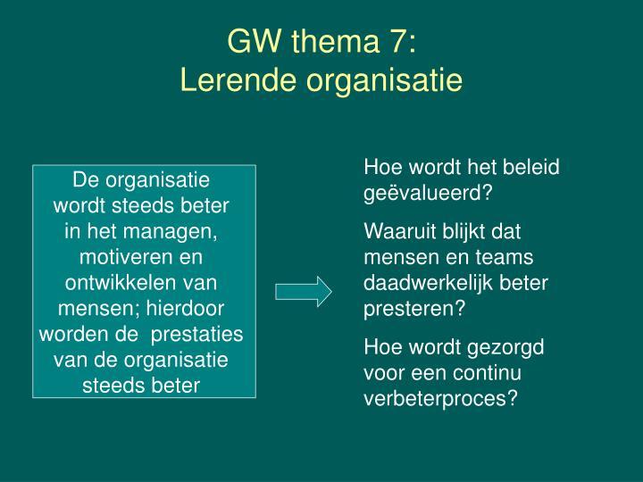 GW thema 7: