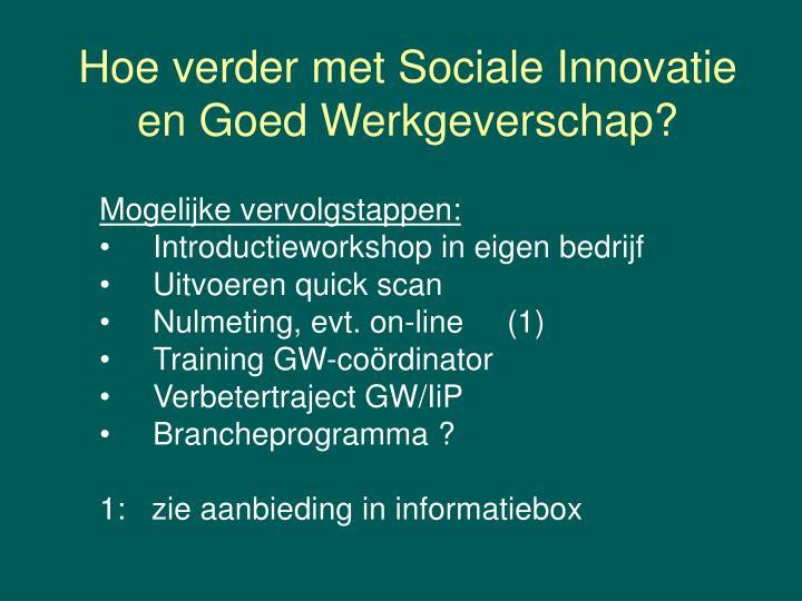 Hoe verder met Sociale Innovatie
