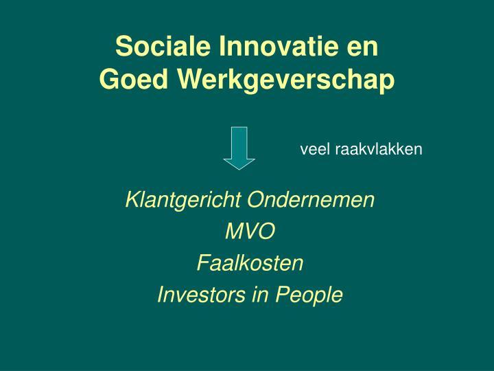 Sociale Innovatie en