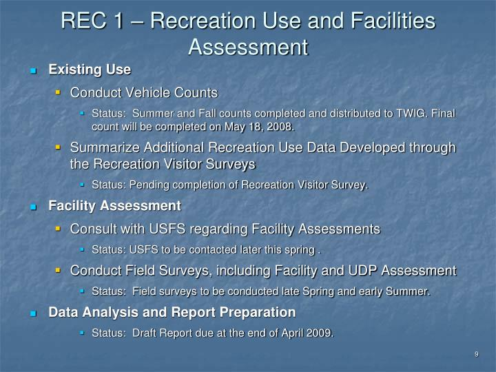 REC 1 – Recreation Use and Facilities Assessment