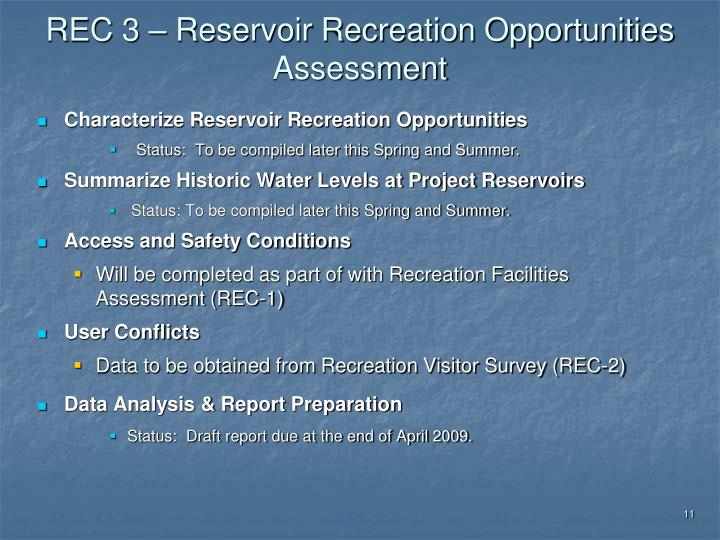 REC 3 – Reservoir Recreation Opportunities Assessment