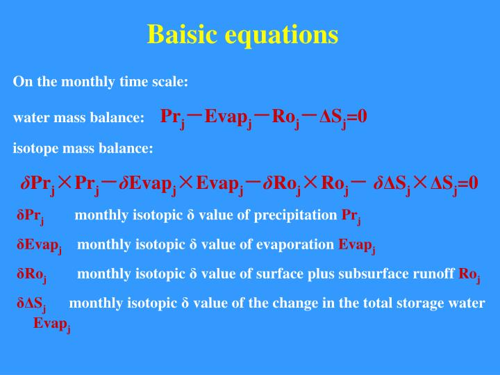 Baisic equations