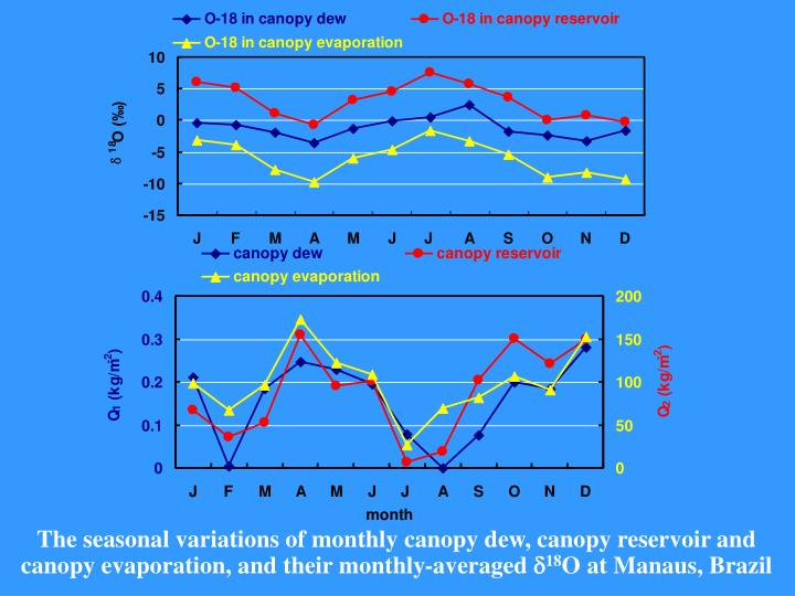 The seasonal variations of monthly canopy dew, canopy reservoir and canopy evaporation, and their monthly-averaged